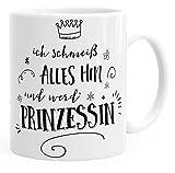Flove Kaffee-Tasse Ich schmeiß Alles Hin und Werd Prinzessin Spruch Einfarbig Weiß Unisize