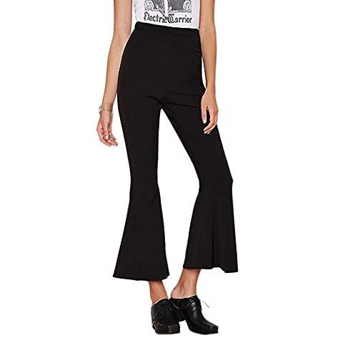 Happy Lily Femme Pantalon Court Taille Haute Femme Slinky jambe évasée Bell Bas Palazzo Yoga pour Femme Pantalon pour femme moyen Noir