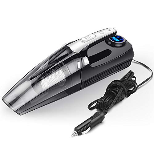 ZHJIUXING HO Auto Staubsauger Handstaubsauger 4 in 1 Leistungsfähiger HEPA-Filter mit LED-Licht,Händischer Luftdruckmesser für Auto Autosauger, Black -