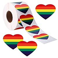 Sunshane 1000 Pieces Gay Pride Stickers Love Rainbow Color Stickers on a Roll, Heart Shaped, Support LGBT Causes (2.17 x 1.57 Inch)