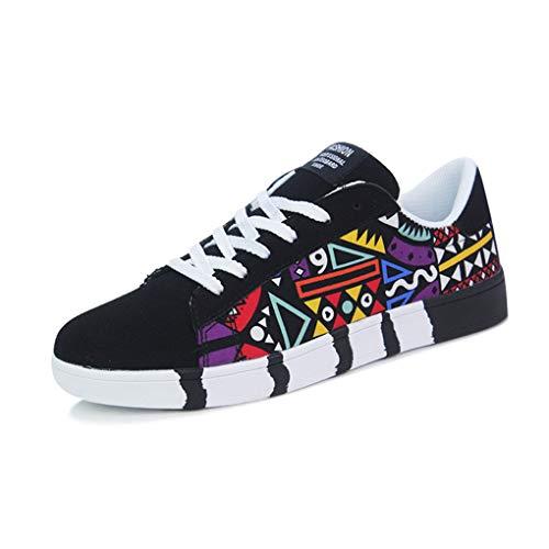 Skxinn Herren Junge Graffiti Sportschuhe Casual Lace-Up Colorfor Canvas Sneakers Schnürschuhe Mode Herrenschuhe Bequem Atmungsaktiv Gr 39-44(Schwarz,42 EU)