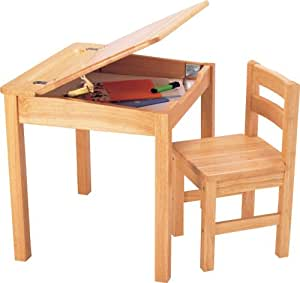 Pintoy Natural Wooden Desk and Chair: Amazon.co.uk ...
