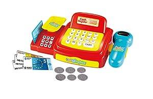 Joueco bn0232633Juegos-Caja registradora de Juguete con luz y Sonido, Rojo/Amarillo/Azul/Blanco