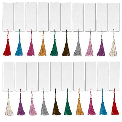 Leevia - Segnalibri bianchi, 96 pezzi, per progetti fai da te e etichette regalo, 14 x 5 cm 48 Pcs Blank Bookmark+48 Tassels