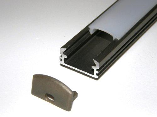 Lackiert Milchglas (Aluprofil für LED-Streifen, eloxiert, P2, INOX, lackiert, Milchglas-Abdeckung, 2 Endkappen, Länge: 1 m/100 cm/1000 mm)
