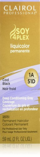 Clairol Colorant permanent Soy4Plex Liquicolor - Couverture du gris à 100% - Noir froid 51D - 59 ml
