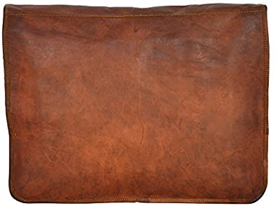 "Gusti Cuir nature - Sac à bandoulière ""Kelby"" Sacoche porte-documents Syle cartable Notebook 17"" chic unisexe en cuir de chèvre Marron U28"
