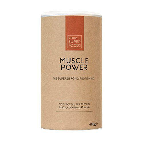 Your Superfoods Muscle Power Superfood - Bio Vegan Protein Mix Pulver Mischung aus Matcha, Reisprotein, Erbsenprotein, Eiweißpulver Proteinpulver 400 Gramm