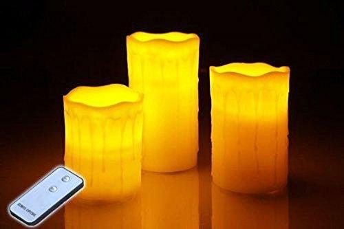 3er Set LED Echtwachskerzen mit Fernbedienung (Körper-lo-duft-sets)