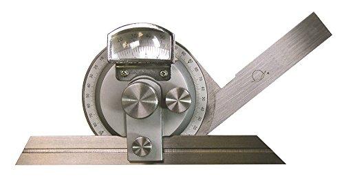 TOP Universal-Winkelmessgerät 4x90° mit Lupe (Schiene 200 mm) (Schienen Mit Skala)
