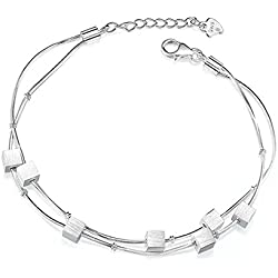 Wearyourfashion Silver Plated Cubes Beads Bracelet for Women/Girls