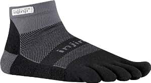 Injinji Run 2.0 Mid Weight Mini-Crew CoolMax Toe Socks-Black Grey-S