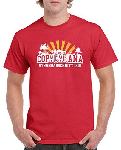 Comedy Shirts - Copacabana Strandabschnitt 1312 - Herren T-Shirt - Rot/Weiss-Gelb Gr. L