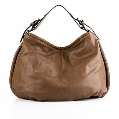 HERGÉ sac porté épaule HELENE - besace en simili cuir - tote bag femme chamelle-beige (50 x 30 x 13 cm)