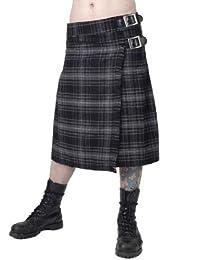 Herren modischer grau karierter Kilt mit Metallschnallen für Herren in verschiedenen Größen Queen of Darkness