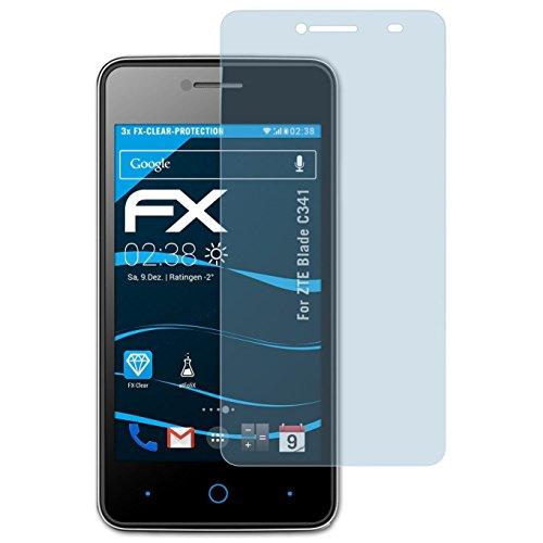 atFolix Schutzfolie kompatibel mit ZTE Blade C341 Folie, ultraklare FX Bildschirmschutzfolie (3X)