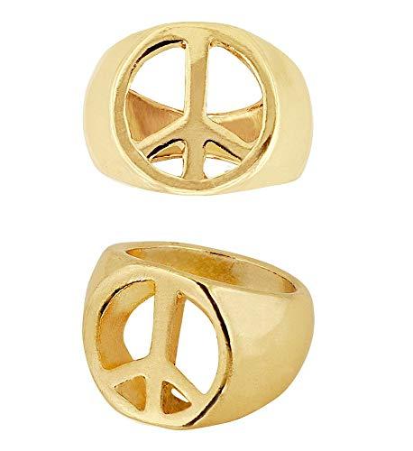 shoperama 60er Jahre Peace-Zeichen Goldring Hippie Flower Power Damen Herren Ring Gold Schmuck