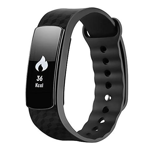 Mpow Bracelet connecté intelligent étanche à écran tactile Moniteur d'activité, podomètre, moniteur de sommeil, montre Noir Pour smartphones Android et iOS dont iPhone 7/7 Plus/6S/5/5S/SE, Huawei, LG, Sony