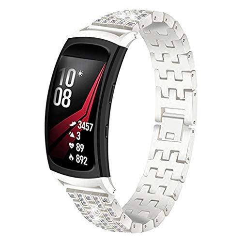 WAOTIER für Samsung Gear Fit 2 Pro Armband Kristaller Armband mit Strasssteinen Edelstahl Ersatzband für Samsung Gear Fit 2 / Gear Fit 2 Pro Armband Slim Armband für Frauen Glitzer Armband (Silber) (Band Metal 2 Gear Watch)