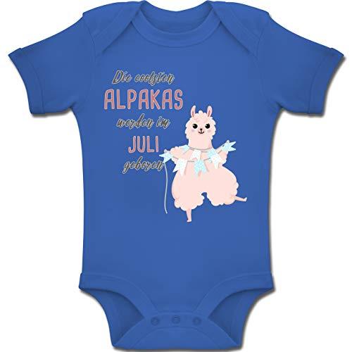 Shirtracer Geburtstag Baby - Die coolsten Alpakas Werden im Juli geboren - 3-6 Monate - Royalblau - BZ10 - Baby Body Kurzarm Jungen Mädchen (4. Juli Ideen Für Die Party)