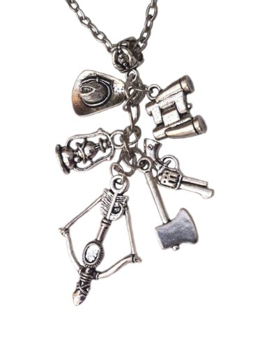Orion Creations TV inspiriert Zombie Charm Halskette Rick Grimes Pfeil, Waffe, und andere Charms