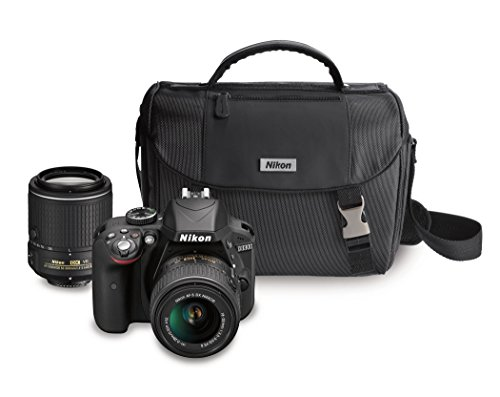 Nikon D3300 with AF-S 18-55 mm VR Kit Lens II + AF-S 55-200 mm VR Kit DSLR Camera (Black)