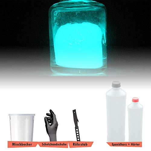 BEKATEQ BK-180EP 2K Epoxidharz Nachleucht Set, 1500g Blau, Gießharz Tisch, Möbel, Basteln, Markierungen, Bodenbeschichtung Leuchtend -