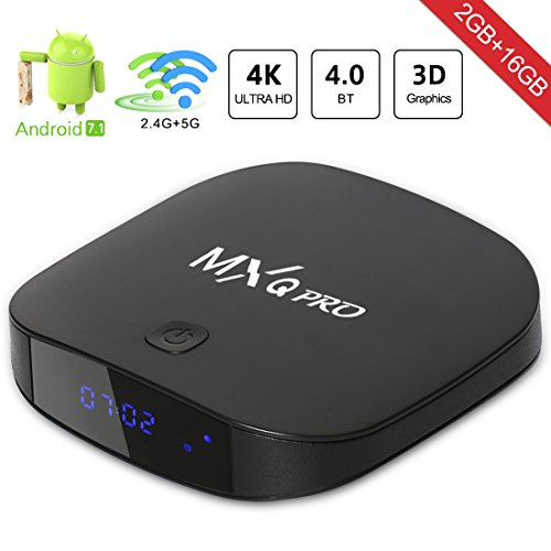 [2018 Última Edición] MXQ PRO Android 7.1 TV Box, Quad-core Cortex-A7 2GB RAM+16GB ROM Smart TV Box/Dual-Wifi de 2.4GHz y 5.8GHz/BT 4.0/HD/H.265/4K(60 HZ)/LAN 100M