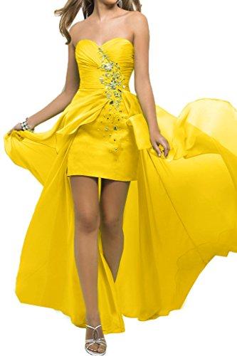 Sunvary Robe Longue Robe de Soiree Robe de Bal Robe de Cocktail Traine Asymetrique Col en coeur Diamant Plisse Dos nu Daffodil