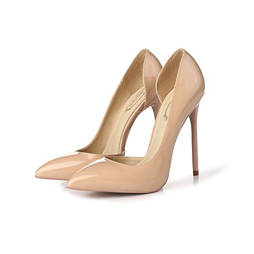 YIXINY Escarpin M214 Chaussures Femme PU+Caoutchouc Side Vide Pointu La Bouche Peu Profonde Amende Talon 12cm Talons Hauts Couleur Nude, Rose