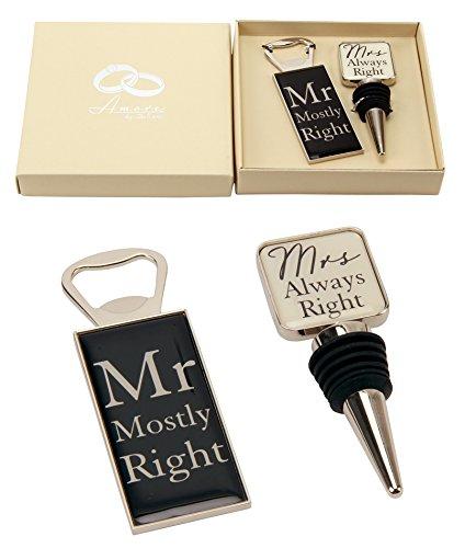Flaschenöffner und Flaschenverschluss, Motiv Mr Mostly Right & Mrs Always Right, mit englischer Aufschrift, in Geschenkbox zur Hochzeit