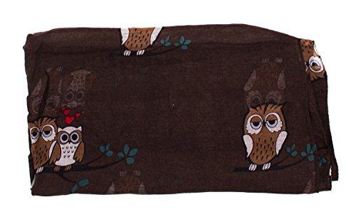 écharpe tube foulard femme mprimé chouette peace et étoiles en plusieurs couleurs tube marron 90 x 180 cm
