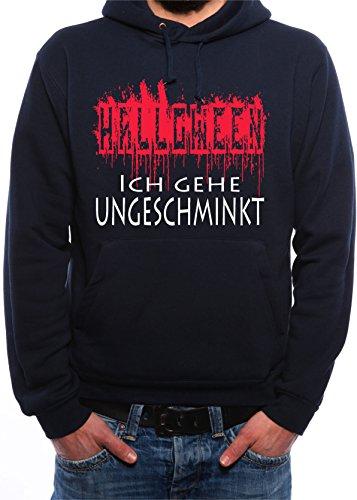Mister Merchandise Herren Men Pullover Hoodie Halloween - Ich gehe ungeschminkt verkleiden WitzigKapuzenpullover Pulli bedruckt Navy, M