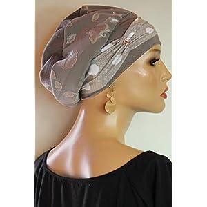 Beanie Mütze Ballonmütze Edel Ecru Rosen mit Band little things in life Chemo Cap Hat Chemomütze Mütze bei Krebs Kopfbedeckung Turban