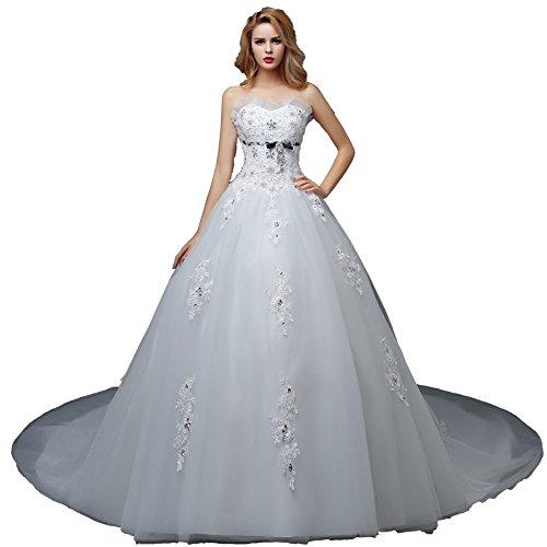 Wewind Damen Brautkleid mit Schleppe Trägerlos Hochzeitkleider mit Schmucksteine Spitzen Schnüren