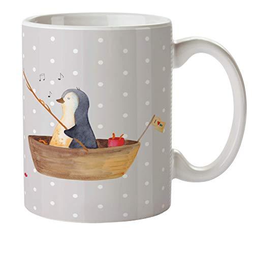 Mr. & Mrs. Panda Kindergarten, Camping Becher, Kindertasse Pinguin Angelboot - Farbe Grau Pastell