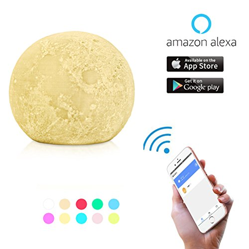 Augrous WIFI Clever Nachtlicht 3D Mond Lampe Kompatibel mit Alexa Google Home Berühren Sensor Umgebungs 10 Farbe Ändern Stimmung Beleuchtung mit Timing-Funktion