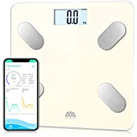 Básculas de baño SENSSUN, analiza la composición corporal, porcentaje de grasa corporal,escala de peso digital precisa,tamaño mini con aplicación para teléfono inteligente(Maíz Dulce)