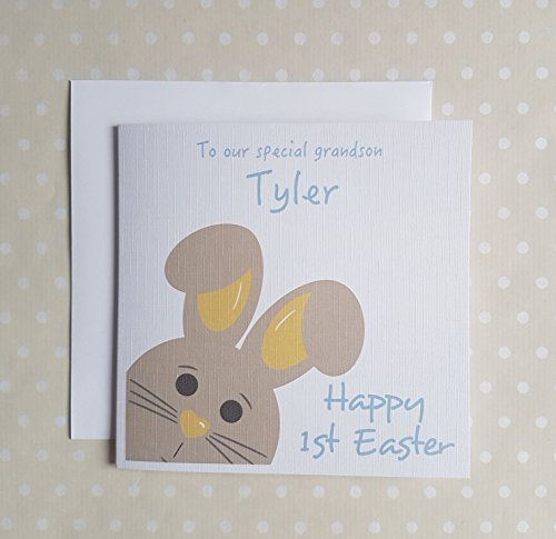 1st Easter card. Personalised First Easter Card for a boy - son, grandson, godson, nephew, brother, Baby boy or Little boy. Cute Bunny Easter Card for newborn baby's 1st Easter. Free UK delivery.