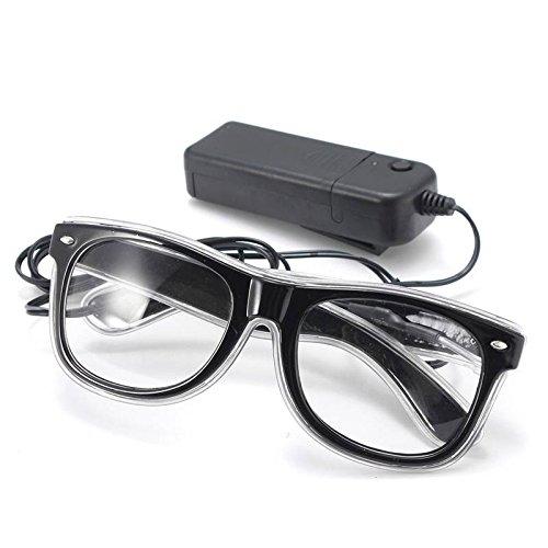 SOLMORE EL Wire Drahtbrille Leuchten Brille LED Leucht Sonnenbrille Partybrille mit Batterie Box IceBlau