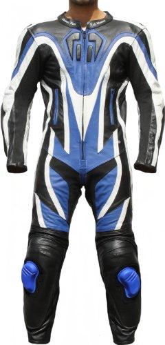 Einteiler Motorradkombi Motorrad Lederkombi aus Rindsleder echtleder Kombi Blau, Größe:58