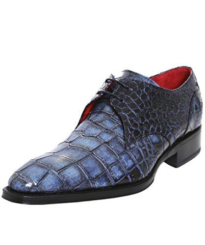 Jeffery-West Hommes Chaussures Flash cuir Croc simulacre Bleu Bleu