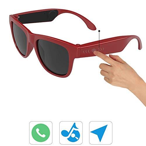 SJZC Multifunktionale Knochenleitung 5.0 Bluetooth-Headset, UV400-Sonnenbrille, intelligente Knochenleitungsbrille, offene Kopfhörer, Outdoor, Reisen, Camping,red