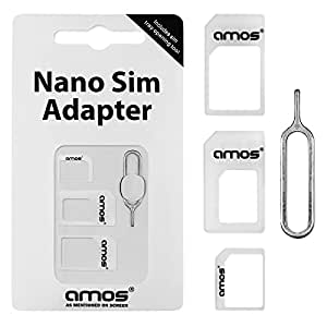 AMOS 4 in 1 Nano SIM Card Adapter Converter to Micro & Standard SIM Card for iPhone 6 5 4 4S 3G 3GS iPad 1,2,3 Tablet Smartphones + Free iPhone Tray Open Eject Pin Tool