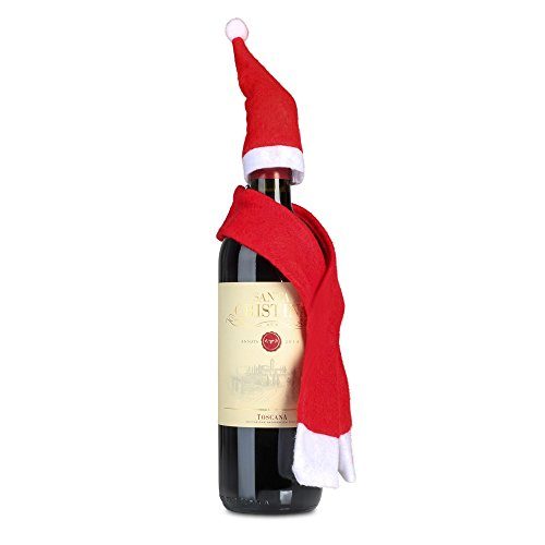 Rotwein Santa Christina Antinori Sangiovese Merlot 0,75 Liter mit Nikolausmütze & Schal (Santa Schal)