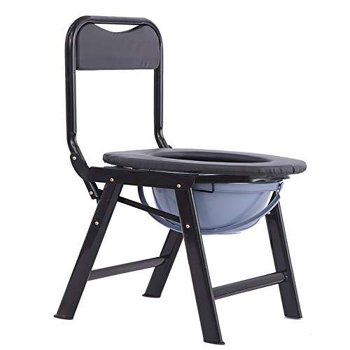 XINGYU Toilettenstuhl, mit Rückenlehne Mobiles WC für ältere Menschen Klappbarer Toilettensitz mit Umwandelbar in Klappstuhl ideal für Camping Wandern Reisen Baustellen