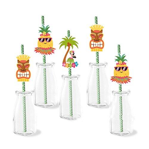 Amosfun 72 Stücke Hawaiian Papierstrohe Trinkhalme Luau Themen Party Sommer Strand Pool Bar Club Geburtstag Hochzeit Dekorationen