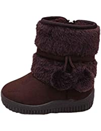 Voberry Unisex-Baby Toddler Cotton Soft Winter Warm Snow Boot Fur Trimmed Pom Pom Boots