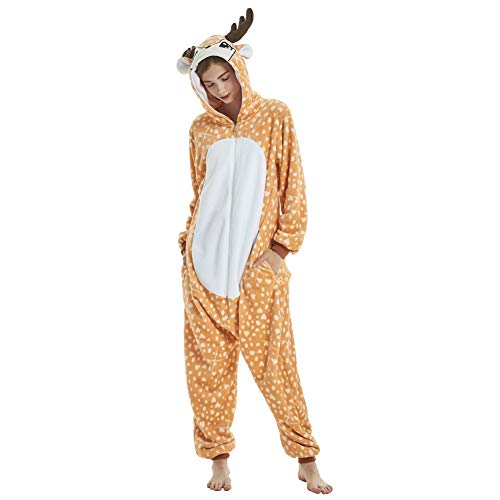 Yimidear Tier Pyjama Kostüm Erwachsene Flanell Onesies Halloween Cosplay für Kostüm Erwachsene und Jugendliche (L, Hirsch)