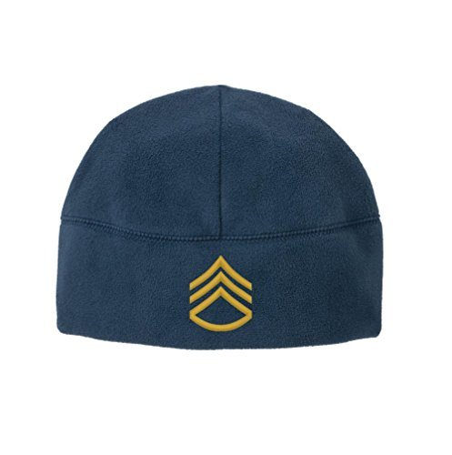 USAMM Army E-6 Staff Sergeant Rank Veteran Embroidered Beanie Watch Cap (Blue)